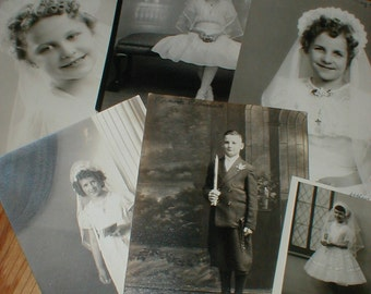 Six Vintage Communion Photos *Frank*Alfrieda*Fay*Helen Ann* Sweet Images!
