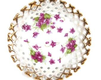 Vintage Purple Violets Saucer Reticulated Edges Heavy Gold Trim
