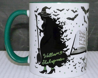 "Shakespeare's Macbeth Witches Mug, Something wicked this way comes"",  Literary Quote, Gothic Book Mug, UK"
