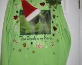 Grumpy Grinch Cat Ugly Christmas Sweater Sweatshirt New Handcrafted Unisex Large Green Glitter Santa Hat Internet Meme Meowy Christmas