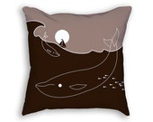 Whale Pillow - Brown Pillow - Decorative Pillow - Whale Decor - Whale Gift - Nautical Pillow - Whale Print - Moon Decor - Ship Decor