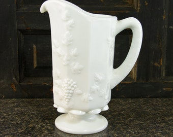 Vintage Westmoreland Milk Glass Pitcher,   Quart Pitcher in Paneled Grape-Milk Glass by Westmoreland