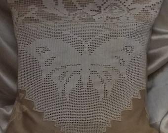Decorative Pillows , Pair of 2 pillows Hand crochet Butterflies  Antique. Poly fill pillows .
