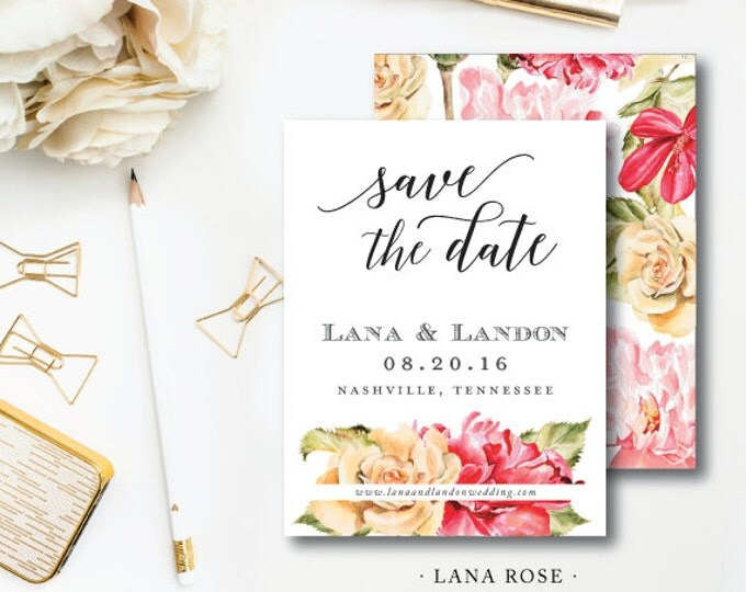 Featured listing image: Lana Rose Design Suite | Wedding Save the Dates | Floral Invitation | Printed or Printable by Darby Cards Collective