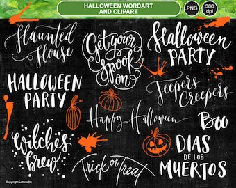 Halloween Digital Overlays ~ Hand-lettered Digital Artwork ~ Cardmaking Creative Supplies ~ Words and Clipart