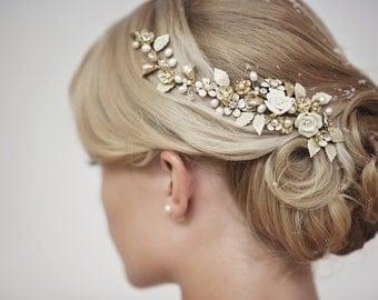 Custom Couture Hair Jewelry Hairvine, Gold Bridal Headpiece, Bridal Headpiece, Wedding Hair Accessories, Rita Gold Hairvine Hair Jewelr #310