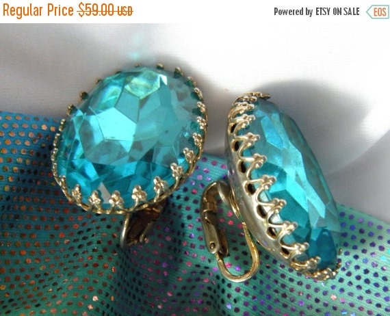 20% OFF Really Really Huge Coro Oval Turquoise Rhinestone Earrings, 32mm, Lace Filigree, Point Back, Faceted, Diva, Prom, Wedding