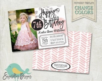 Birthday Invitation PHOTOSHOP TEMPLATE - Birthday Girl 001