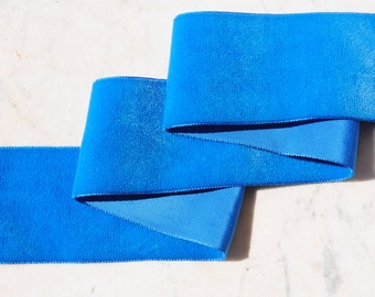 Beautiful French vintage bright royal blue velvet ribbon - 2 inches (5 cm) wide - by the yard piece