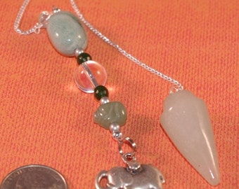 SEPTEMBER SALE Dowsing Pendulum Green Aventurine and Lucky Elephant New Age Pagan Magick 135943P