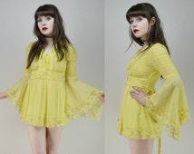 60s 70s Hippie Flower Child Lemon Yellow Lilac Lace Trim Bell Sleeve Tie Back Micro Mini Tunic S