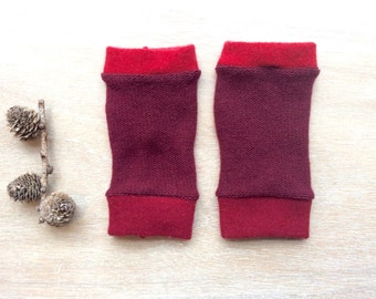 Fingerless Gloves in maroon and reds, wrist warmers, typing gloves
