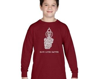 Boy's Long Sleeve T-shirt - Blue Lives Matter