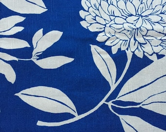 Set of 2 Pillow Covers 18x18 inch-Free Shipping - Large Floral Blue and Tan Home Decor Fabric