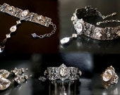 Swarovski Gothic Jewelry Set Gothic Choker Bracelet Ring Earrings Silver Crystal Jewelry Set Victorian Gothic Wedding Bridal Jewelry Set