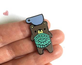 Tea Bear pin. Hard Enamel pin badge, cute. Lapel pin.