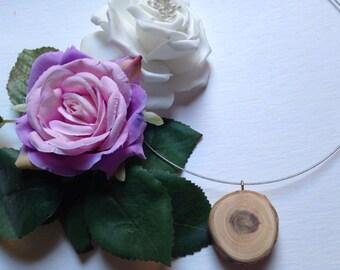 Necklace wood natural woodgrain cherry wooden necklace Collier en cerisier bois et rois