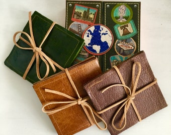 Double-Sided Leather Coaster Set // Gifts for Her // Gifts for Him