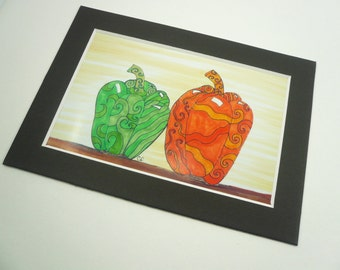 Kitchen art, peppers, green and orange sweet peppers art print. Matted art print with peppers, fruit and vegetable art.