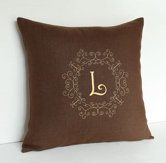 Linen Monogram Throw Pillow: Monogram Pillow Personalized Linen Pillow Personalized Pillow