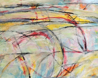 Landscape , 10-5-16 (abstract expressionist painting, gold, white, blue, green, silver, red, yellow)