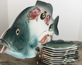 Vintage Pottery Fish Platter and Fish Plates Japan Samon Serving Platter and Plate Set Seafood Service Platter