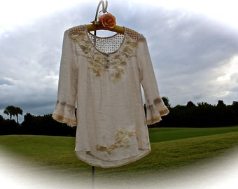 Romantic Lace and Gauze Bohemian Shirt Rodeo Sweetheart Country Shabby Chic  Size Small