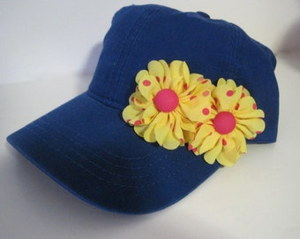 Youth Toddler Blue Baseball Cap with Yellow Chiffon Flowers with Pink Polka Dots Youth Accessories