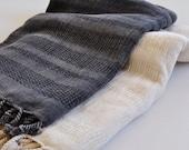 Set of 2 Turkish Towel Peshtemal towel Cotton Peshtemal Stone washed wicker striped Dark Grey and Ivory Towel soft via UPS Express