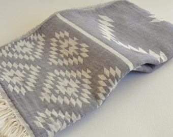 Turkish Towel Rug pattern Peshtemal towel Cotton Peshtemal Grey Towel soft