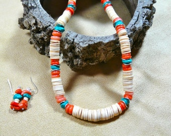 28 Inch Melon Shell Heishi Necklace with Coral and Turquoise and Earrings