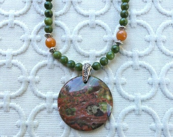 20 Inch Rust and Olive Green Rainforest Jasper Pendant Necklace with Earrings