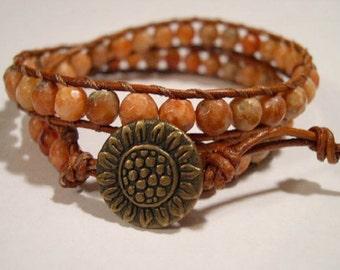 Leather Wrap Bracelet, Beaded wrap bracelet, Beaded leather wrap, Boho wrap bracelet - 767