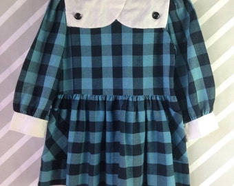 vintage black and blue plaid girls dress by bow age 3 4 5 years