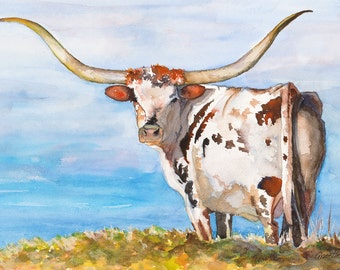 Texas longhorn art print watercolor cow painting, canvas, longhorn painting, longhorn cattle art western, cattle art, den art, ranch