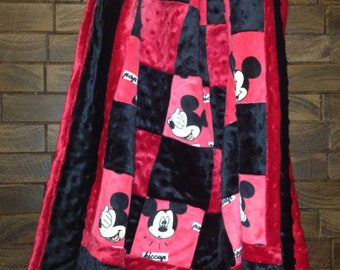 Custom Mickey Mouse Quilt Top Minky Blanket