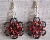 Earrings Chain Maille Japanese Weave Flower Black and Red Anodized Aluminum Jewelry