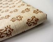 Brown tribal block printed on beige cotton silk India fabric nr 637
