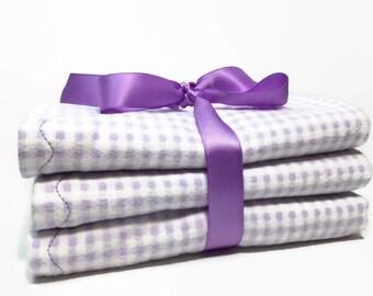 Flannel Burp Cloths - Baby Girl Burp Cloth - Lavender Burp cloth - Burp Rag - Burp Cloth Sets - Baby Burp Pad - Girl Gift Sets - Layette