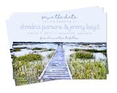 Watercolor Dock on the Marsh Save the Date - Digital or Print