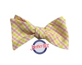Pink and Yellow Tattersall Bow Tie~Mens Self Tie Bow Tie~Mens Pre-Tied~Anniversary Gift~HoBo Ties~Cotton Bow Tie~Wedding