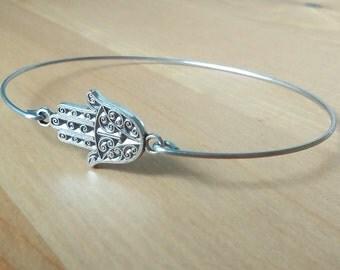 Silver hamsa bracelet - Silver hamsa bangle - Hippie Boho gypsy bracelet - Kabbalah jewelry - Minimalist jewelry