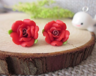 20 pcs 12mm red Polymer Clay Flower Beads, FIMO rose Pendant, Charm craft jewelry, wedding,Necklaces Earrings Bracelet Accessories