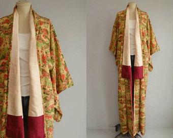 Vintage Silk Kimono / Handstitched Scenic Novelty Batik Print Kimono Geisha Robe / Made in Japan Fuchsia Pink