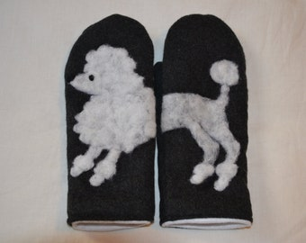 Wool mittens with felted white poodle