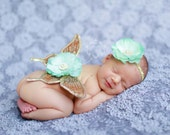 Vintage Antique Gold Jeweled Wings with Mint Green Silk Bloom and Matching Headband (SET) - Beautiful Newborn Photo Prop