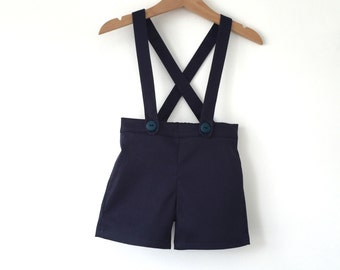 baby boy suspender shorts short alls ring bearer outfit nautical wedding outfit