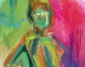As If  ..  original painting 4x6 oil gouache small tiny art figurative