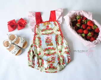 Strawberry Shortcake Vintage Romper - Strawberry Shortcake Bubble - Strawberry Shortcake Jumper - Strawberry Shortcake One Piece