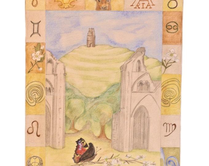 Glastonbury Art Study, Glastonbury Tor Cathedral, Pagan Christian Pilgrimage, Chalice Well, Avalon, King Arthur, Hern the Hunter,